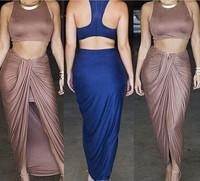 2015 New Fashion Women Casual Dress Sexy Club Evening Bodycon Bandage Dresses 2 pcs Celebrity Nightclub Slim Hip Midi Dresses