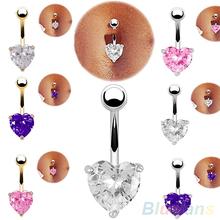 Navel Belly Ring Rhinestone Button Bar Heart Star Body Piercing Jewelry