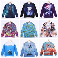 New 2015 Fashion Hoodies Pullovers 3D Sweatshirts For Men/Women Cartoon Minions 3D Shark Octopus Lion Cat 3D Animal Hoody Woman