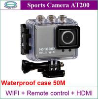 New Original AT200 Action Camera Diving 50M Waterproof Camera Wifi Remote Control 1080P 2MP Full HD Underwater Sport Cameras