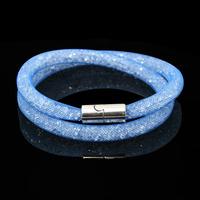 Hot sale Sky Blue Stardust Mesh Double Bracelets With Crystal stones Filled Magnetic Clasp Charm Bracelets Bangles JDB001-21-2