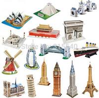 Free Shipping(5 sets/lot), Children's educational 3 D puzzles, DIY paper puzzle world famous buildings models, JY080