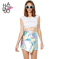 LZ Silver reflective shiny irregular patchwork knitted elastic black short design asymmetrical skirt haoduoyi XS S M L XL XXL