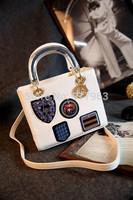 Famous brand D lady bags sheepskin leather handbags original D badges handbag   shoulder bag
