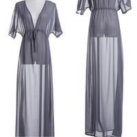 Long Maxi Dress Sheer Chiffon Sexy Soft Deep V Tunic Vestidos De Renda Tropical Beach Dress Summer Clothing Women Casual Dress
