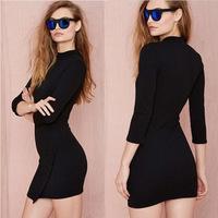 2015 casual dress fashion style temperament round neck women dress package hip Slim Sleeve Dress F88