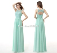 Scoop Neck Mint Green Bridesmaid Dresses A Line Long  Party Gowns Ruched Chiffon Open Back Maid of Honor Gown