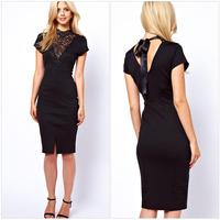 New 2015 Fashion Slim OL Lace Neck Patchwork Casual Pencil Dress Woman Sexy Bodycon  Elegant Party Dresses  ZHX