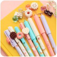 8pcs/lot Sweet Gel Pen School Office Pen material escolar papelaria colorful pen Student School Supplies Stationery