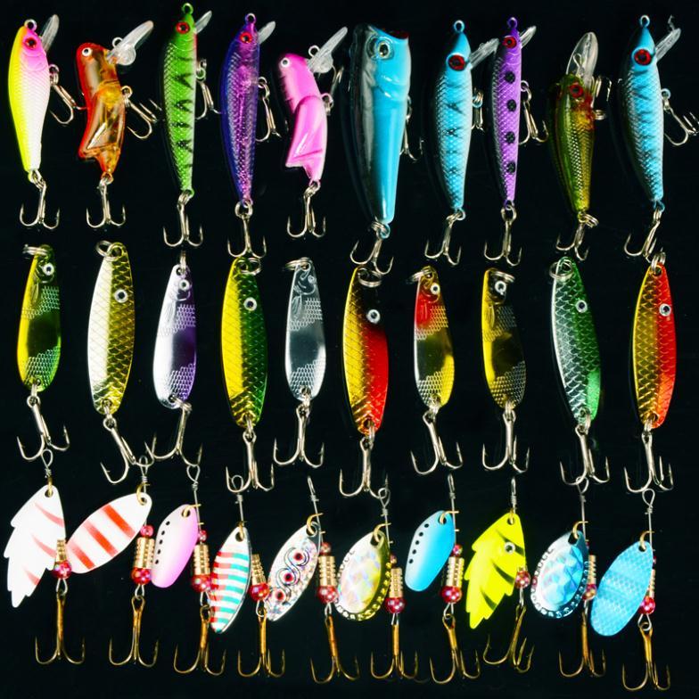 Fishing Lure Kits  Hard ARTIFICIAL LURES MINNOW FISHING LURES Set Japan Steel Balls 30Pcs Blade Fish Bait Cheap Tackle NEW 2015(China (Mainland))
