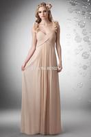 Chic Spaghetti Strap Floor Length Chiffon Champagne Princess Bridesmaid Dress 2015