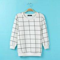 2015 Black White Plaid Hoodies Women Mixed Colors Sweatshirt Fashion O-Neck Spring Sweatshirts A043