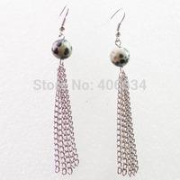 Free shipping Fashion 10MM Dalmation Jasper With Silver Long Tassel Earrings Chain (Min.order 15$ mix)