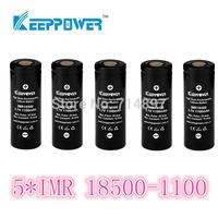 free shipping 5 pcs KeepPower IMR 1100mah protected 18500 rechargeable  battery flashlight li ion 3.7v for flashlight headlamp