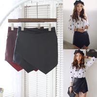 2014 winter shorts PU leather irregular short culottes female for women booty shorts feminino