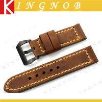 Leather Watch Straps 24mm Genuine Handmade Watch Band Black PVD Tang Buckle Watchband Men's Assolutamente Bracelet for PANERAI