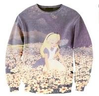 Iswag sweatshirts women fashion harajuku cute cartoon princess 3D sweatshirt flower/floral printed hoodies Pullover Nora05568