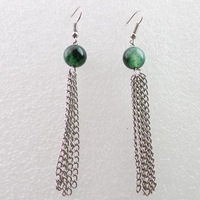 Free shipping Fashion 10MM Moss agate With Silver Long Tassel Earrings Chain (Min.order 15$ mix)