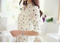 New Hot Sale2015 New Women long-sleeve bird Print Dot Chiffon Shirts Fashion Slim autumn Blouses Casual WL2206