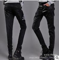 Fashion Loose black female Harem show thin PU leather splicing drop-crotch  Jeans  pants