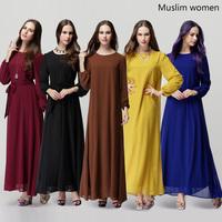 Wholesale Muslim clothes Womens Apparel Islamic Clothing Black India Parkistan Long Dress to Women Maxi Long Sleeve5451302001