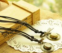 Vintage Punk Leather Long Necklaces  with Cap accessories