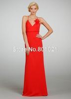 New Arrival Halter Floor Length Chiffon Pleating Sheath Column Red Flower  Wedding Guest/Bridesmaid Dress