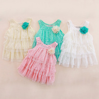Trend Sleeveless summer clothing for Infants lace girls dresses party princess Baby Girls Layered dress solid Tutu clothes HA092