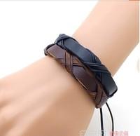 Stylish Genuine Leather Braided Bracelets Punk cross Hemp Lover's Wristband Men's Handmade New Arrival women Mix order 12pcs