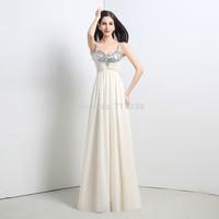 Hot Sell Sheath Chiffon Prom Party Evening Dress Spaghetti Strap Bridesmaid Gowns