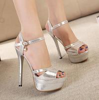 2015 Summer Women High Heels Sexy Sandal 14cm Rhinestone Platform Open Toe Sandals Shoes sy-1030