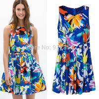 Summer new European American women dress printed round neck knit graffiti Slim thin sleeveless dress women dress