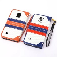 50pcs/lot Fashion British Style book leather flip stand cover For Samsung Galaxy note4 N9100 pouch wallet case