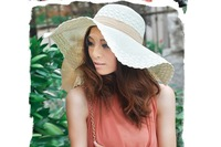 High quality Female Summer Casual Bowknot Straw Wide Brim Sun Block Beach Hats For 2015 top