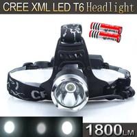 Super Light HeadLight CREE XM-L T6 LED 1800Lumen Headlight Bike Bicycle Light headlamp+2 3000battery+Charger