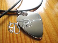 Free shipping Super guitarist Joe satriani  signature  handmade stainless steel pick  necklace for women men