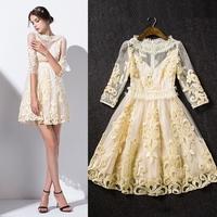 New arrival 2015 women's spring gauze lace flower cutout three quarter sleeve one-piece dress