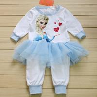 HOT Frozen elsa costume Baby lace Romper set cartoon baby girl one-piece suit infant clothes girls Jumpsuit babies rompers HB087