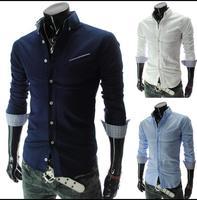 2014 New Dress Fashion Quality Long Sleeve Shirt Men.Korean Slim Design,Formal Casual Male Dress Shirt.
