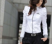 2014 Women Sexy V-neck Chiffon Blouse Slim Fit Casual Ladies 1 Color Button Tops Women Long Sleeve Sheer Shirts Plus Size S-XL