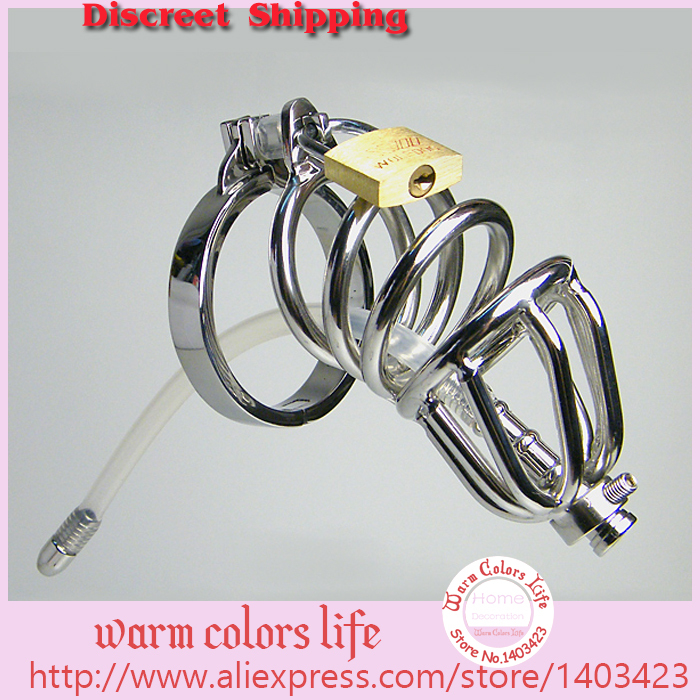 2015 Penis Sleeve Chromed Plated Metal Male Chastity Device Cock Cages Men's Virginity Lock Penis Ring Adult Games Sex Toys Size(China (Mainland))