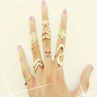 1set Golden Stack 7pcs Plain Above star clover lace Knuckle Ring Set Punk Rock Mini Rings