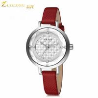 2015 Fashion Casual Luxury Women Wristwatches Genuine Brown Leather Wristband Women Dress Watch,Top Brand Luxury Quartz Watch