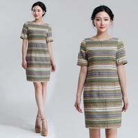 striped boho linen dress short party dresses Wholesale qualified chinese apparel sheach vestidos femininas 5501308300