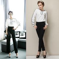 Dka205 2014 women's models hit the color Slim black and white business Work  Harem Pants Suit Trousers