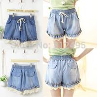 2015 elastic waist denim shorts lace cuff ruffle culottes short jeans female free shipping