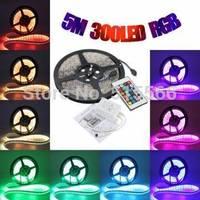 Best price ! RGB LED Strip 5050 Flexible Light 60LED/M 300LED 5M SMD waterproof + 24key IR Remote Controller