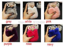 7 Colors Rex Rabbit Fur Case For iPhone 6 4 7 inch Fox head Luxury Diamond