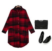 New Autumn Winter Temperament looser grid long sleeve shirt jacket Fashion European Women casual shirt