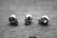 30pcs--Skull Beads, Antique Tibetan silver Head skull bead Charm pendant, Day of the Dead 15x9X8mm